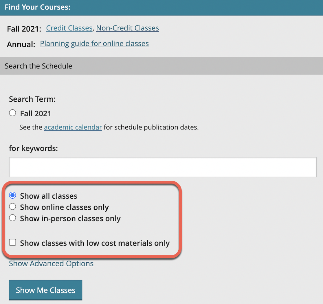 Find your course term and keyword search