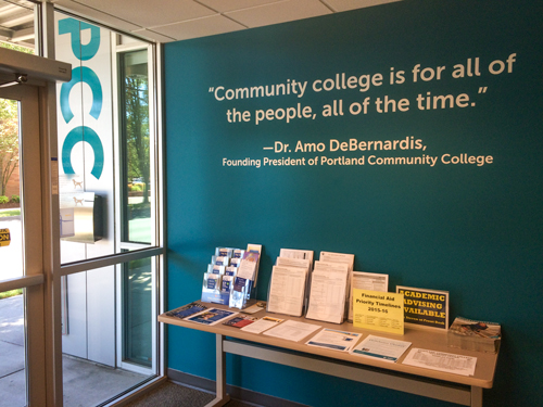 Quote by Amo DeBernardis saying 'Community college is for all of the people, all of the time.'