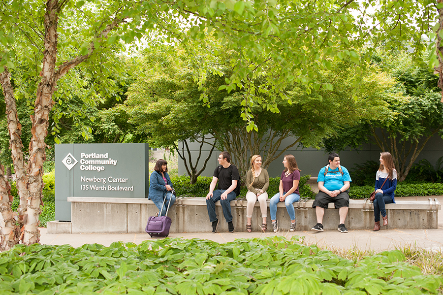 A group of student hanging out outside the Center