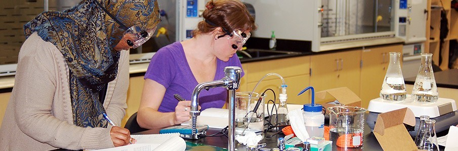 Students working with chemistry equipment in lab