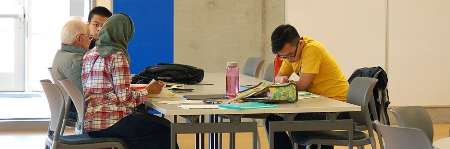 Students studying around table
