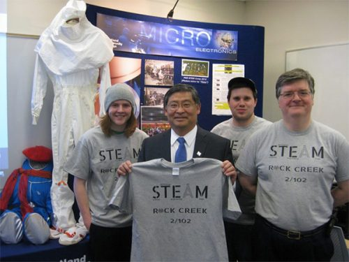 President Mitsui with STEAM Lab students