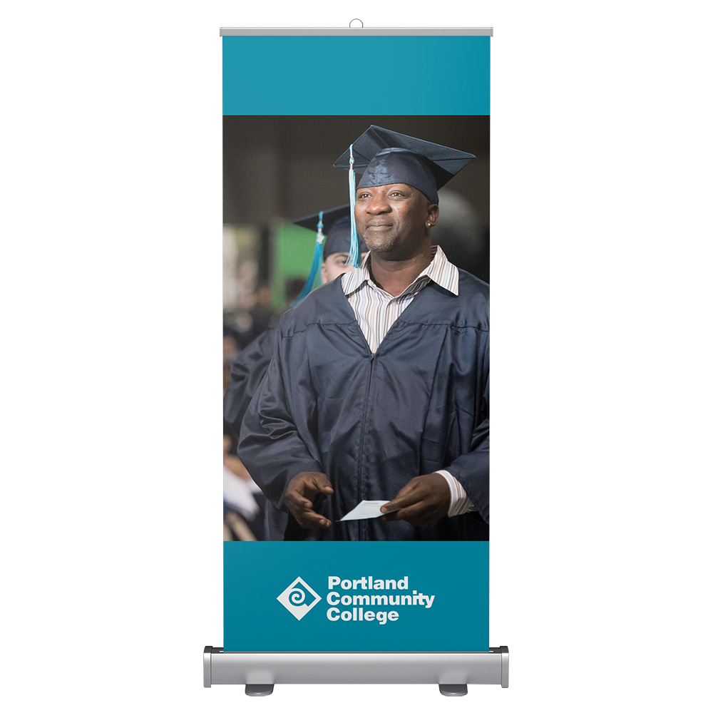 Standard banner stand with student automotive worker