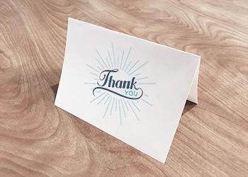 Sunburst thank you card