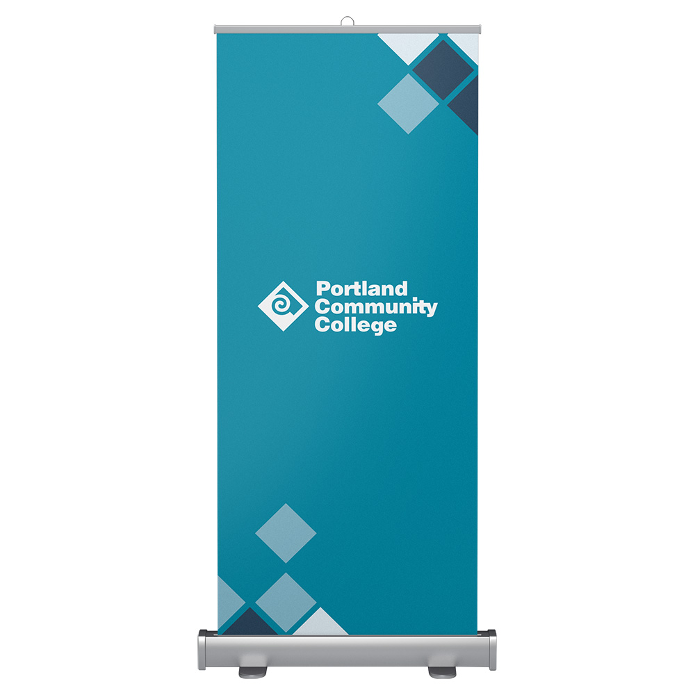 Standard-size banner stand with PCC Logo graphics