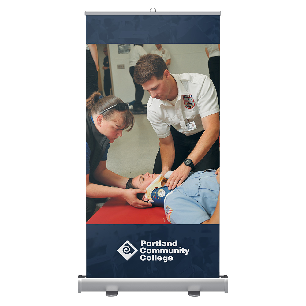 Wide banner stand with EMT students training