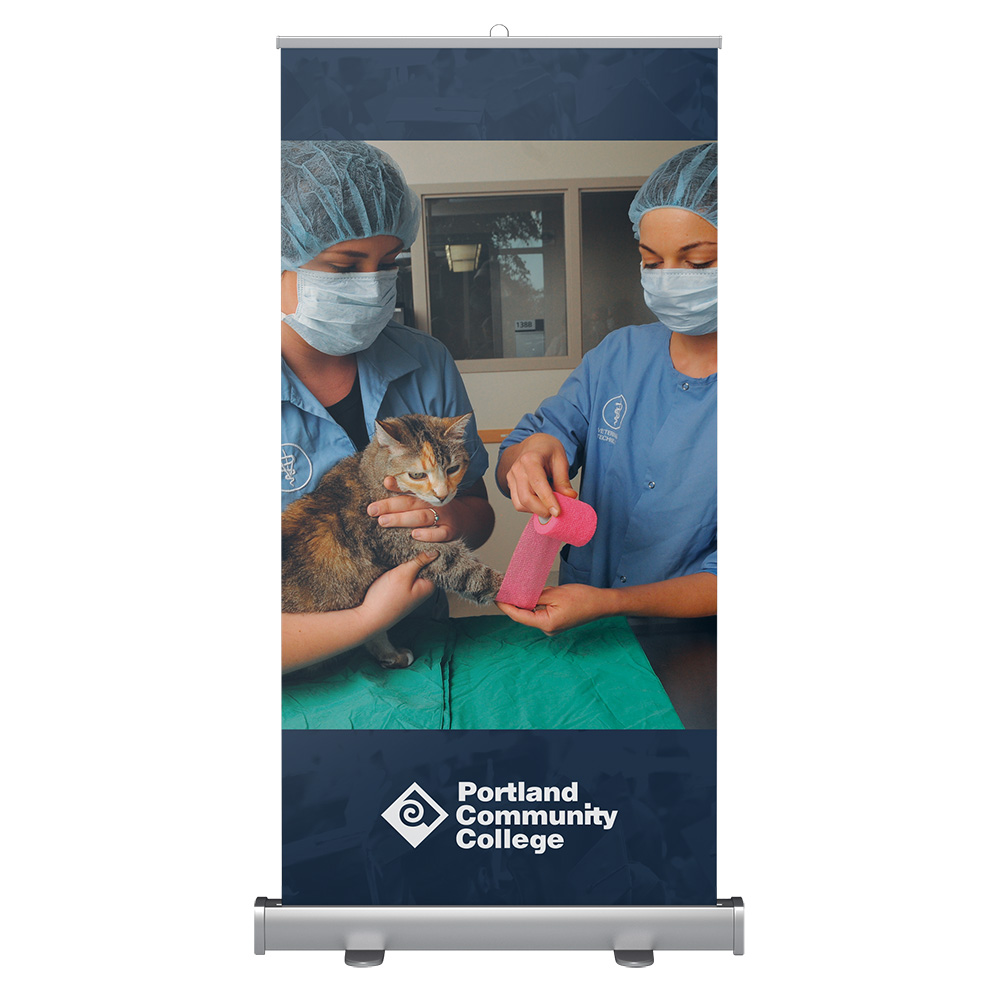 Wide banner stand with veterinary students bandaging a cat