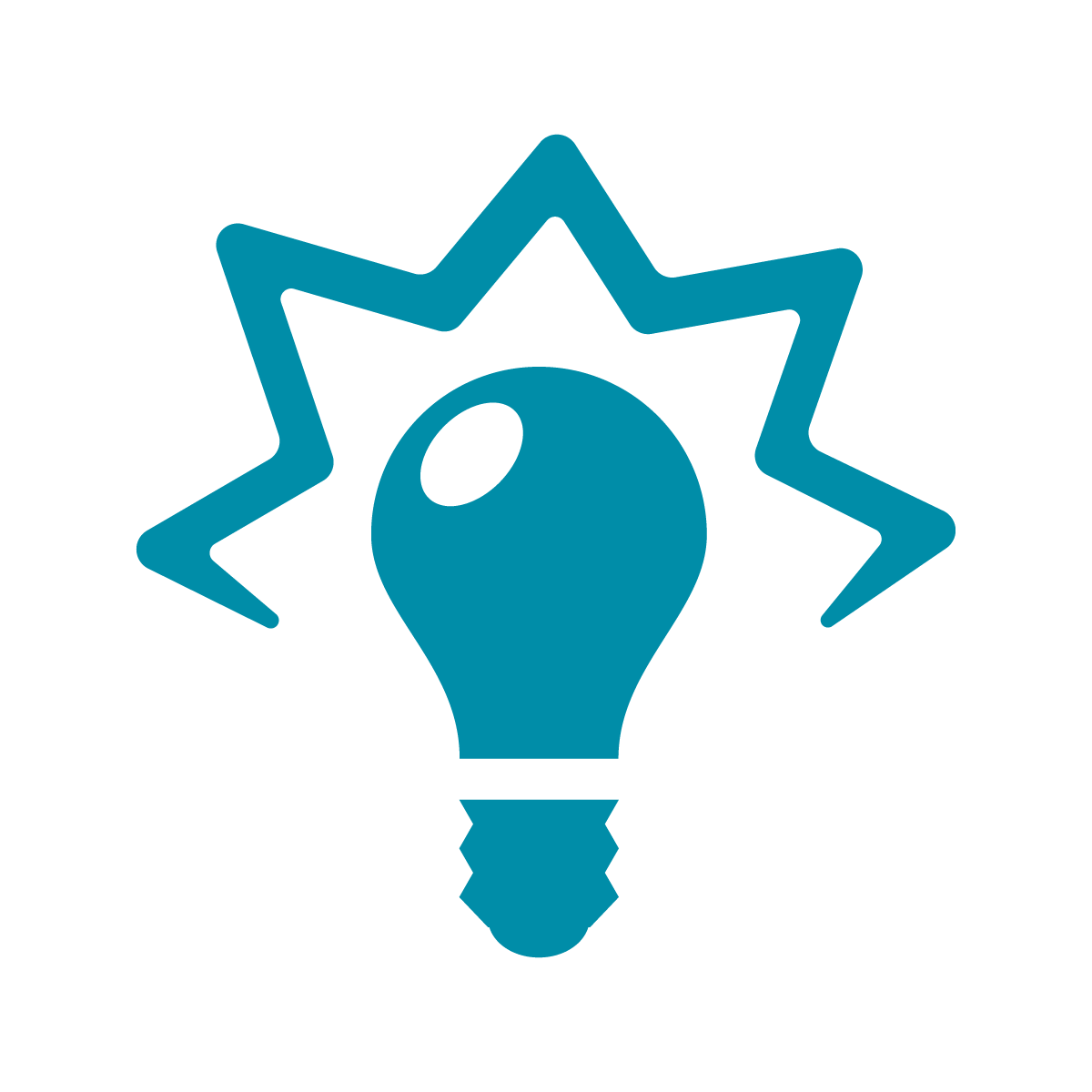 Turquoise graphic of a lightbulb lit up