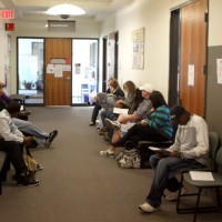Students wait for the name to be called outside of the Cascade Campus placement testing office the first week of school.