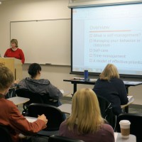 Career Guidance instructor Jackie Elliot teaches a CG 100 course to more than 25 students during fall term. Like many Career Guidance instructors, Elliot is also a counselor in the Sylvania Counseling Center and feels strongly the classes give students a better chance at being successful.