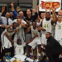 The PCC men's basketball team celebrates their historic advancement to the NWAACC Tournament.