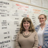 Student Maren Holmboe (right) with Russian language instructor Kristine Shmakov.