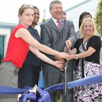 The Swan Island Trades Center ribbon-cutting featured (left to right) Swan Island Business Association Executive Director Sara Angell, Cascade Campus President Karin Edwards, PCC President Jeremy Brown and PCC Board Chair Deanna Palm.