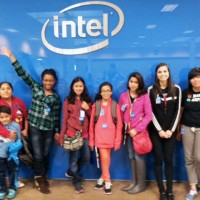 Students pose during their field trip to Intel.