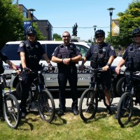 The Cascade bike team (from left): Officer Wally Chow, Officer Steve Feather, Sgt. Erik Hargrove, Officer Lyle Brown, and Officer Tony Whitmore.