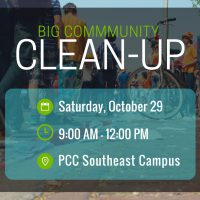 BIG Community Clean Up Flyer, shares date, time and location of the event.