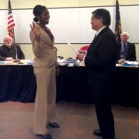 Kali Thorne-Ladd is sworn in as chair by President Mark Mitsui.