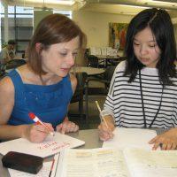 Jessica Bernards with Rock Creek student Samantha Huang.