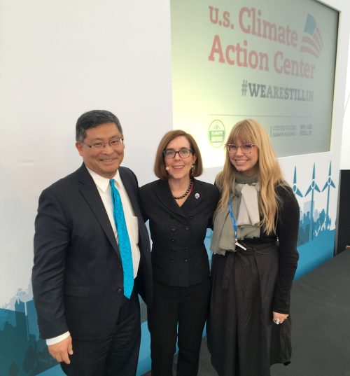 President Mark Mitsui and Sustainability Leader Briar Schoon with Oregon Gov. Kate Brown (center).