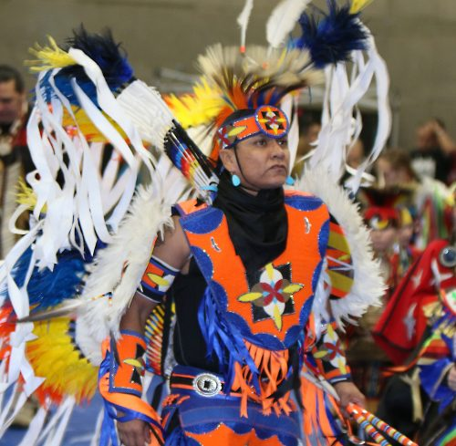 A dancer during the first grand entry at last year's PCC powwow.
