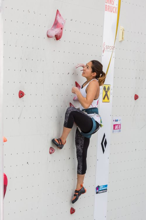 Last September, she competed in Austria for the World Youth Climbing Championship, finishing 20th overall in the speed climbing category.