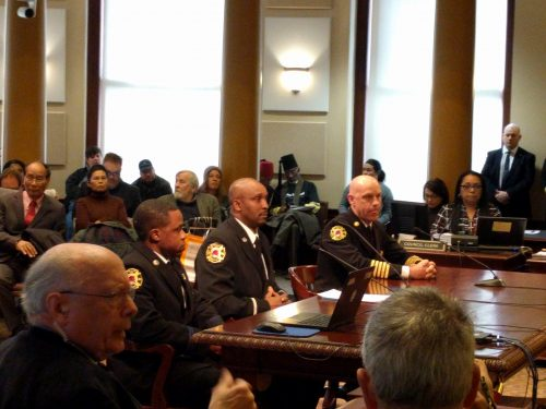 Portland firefighters testify before the Portland City Council on the legacy of Gus Waterford.