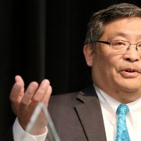 President Mitsui giving a presentation