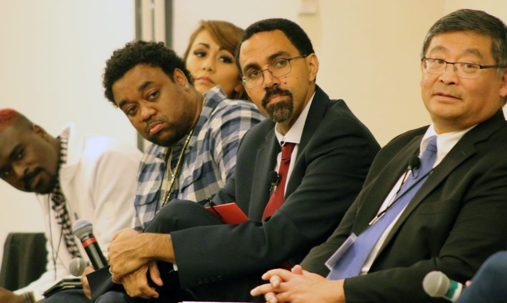 John B. King (center), former U.S. Secretary of Education for President Obama, keynoted the summit on supporting low-income college students.