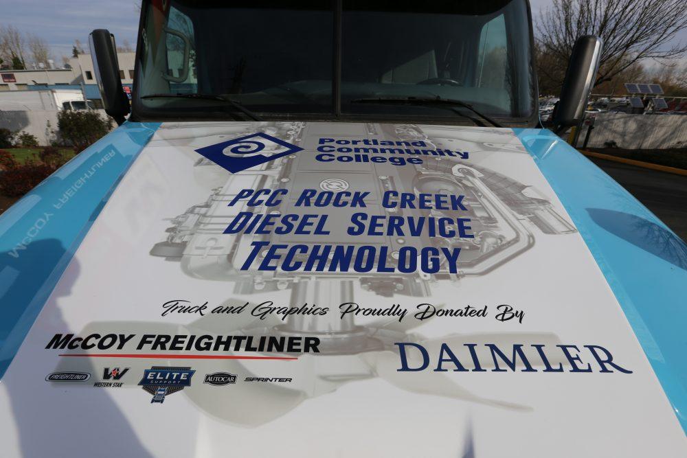 hood of diesel freightliner truck