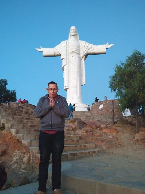 This picture was taken July 8, 2018 in Cochabamba, Bolivia. This is the tallest statue of Jesus in the world. When building it the deliberately made it 6 inches taller than the very famous one in Rio de Janeiro, Brazil.