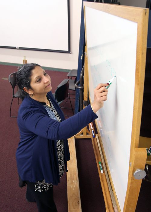 Usha writes on a dry erase board.