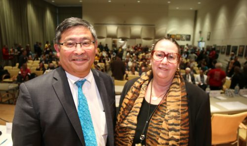 PCC President Mark Mitsui with State Sen. Betsy Johnson, who co-chairs the Joint Ways and Means Committee.