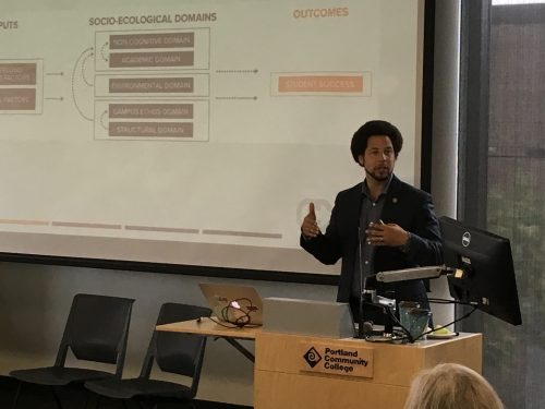 "J. Luke Wood of San Diego State University delivers the keynote address at the recent ""Teaching and Supporting Men of Color: Moving From Theory to Practice"" event at the Cascade Campus."