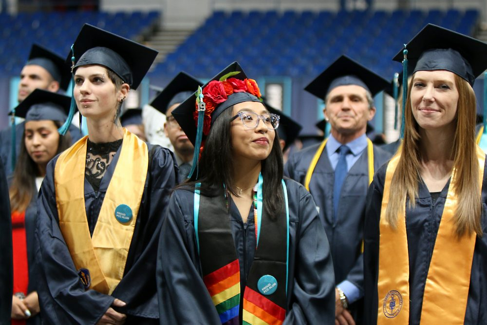 Veyda Hernandez stands during anthem.