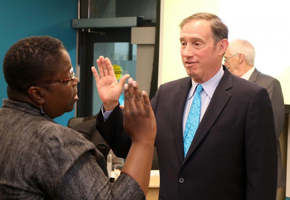 Dan Saltzman sworn in by Justice Nelson.