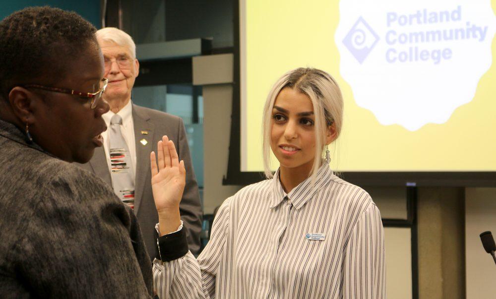 Hannah Alzgal gets sworn in.