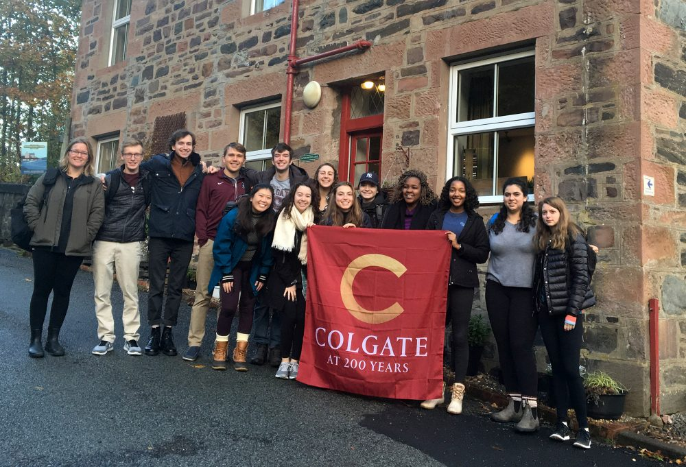 Jenna Reinbold (far left) with her Colgate students in Scotland.