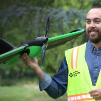 Krishna Sunglieng with fixed-wing drone.