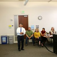 President Mark Mitsui shares his work plan with college staffers.