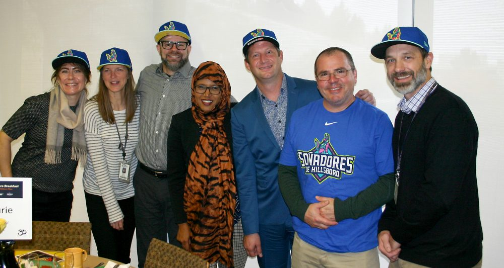 Hillsboro Hops representatives with Future Connect staff.