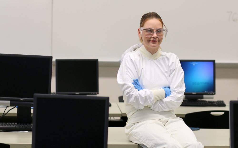 Sara Teters sits in her empty lab at the Rock Creek Campus.