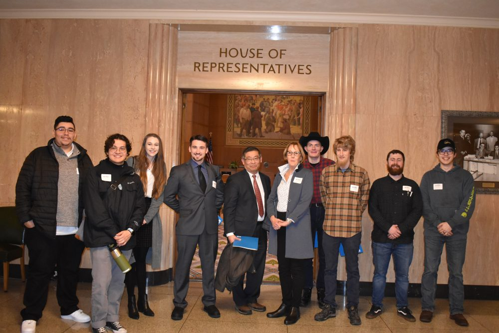 A picture of President Mitsui, Board Members, students and staff at CTE Day at the Capitol