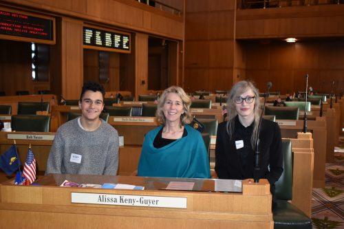 Sebastian Alamo-Selis, Rep. Alissa Keny-Guyer, and Eugenie Ridenour