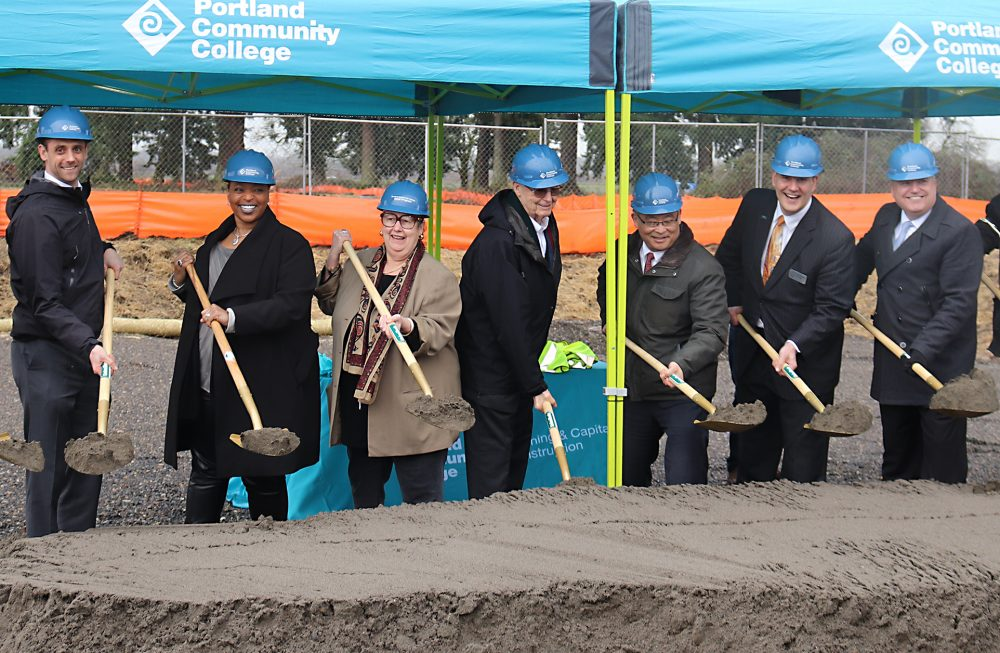 Left to right, PCC OMIC Director Andrew Lattanner, PCC Board Trustee Tiffani Penson, State Sen. Betsy Johnson, PCC Board Chair Jim Harper, PCC President Mark Mitsui, OMIC R&D Executive Director Craig Campbell and Scappoose Mayor Scott Burge.