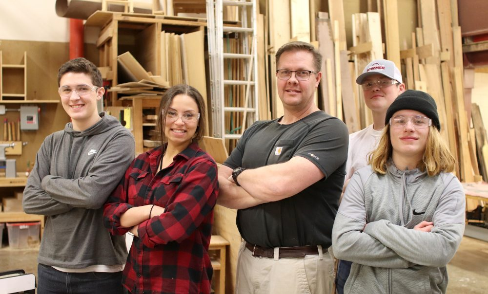 Sherwood High's building construction class Dane Baysinger, Natalie Kapuniai-Ryan, Jon Dickover, Christian Emmons and Alex Block.