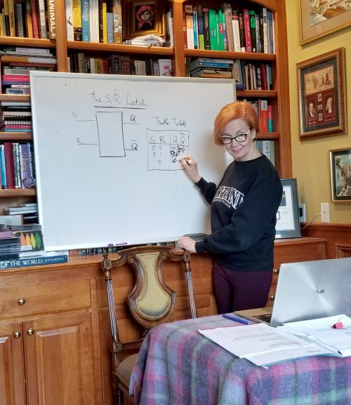 Dorina Cornea-Hasegan teaches from her home.