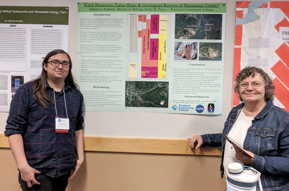 Jimenez and mentor Marjan Rotting after presenting their project at the NASA STEM Community College Opportunity for Research Experiences (SCORE) Symposium. Jimenez was awarded the SCORE grant for 2018-19 and now serves as a mentor for current recipients.