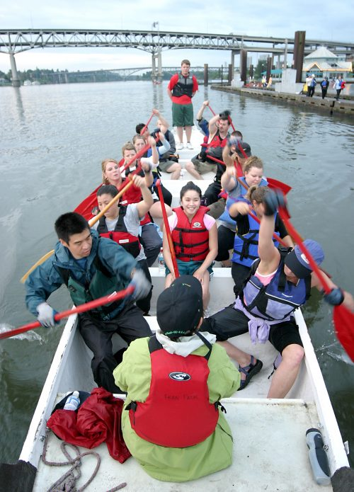 Rowers on dragon boat.