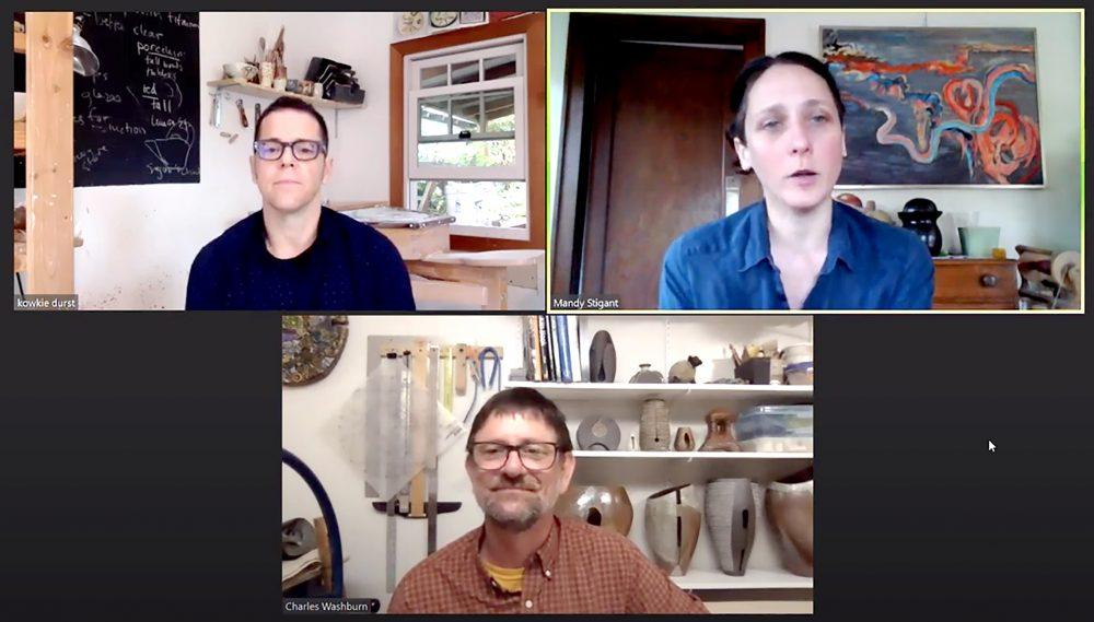 Ceramics faculty discuss courses on Zoom.