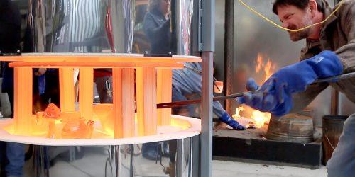 Charlie Washburn fires ceramics.